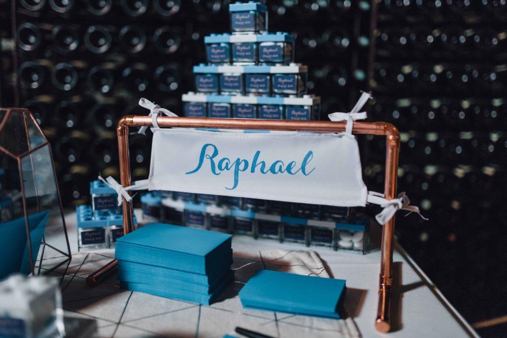 décoration baptême cuivre et bleu